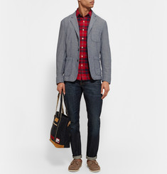 Alex Mill Blue Double-Faced Cotton-Chambray Blazer