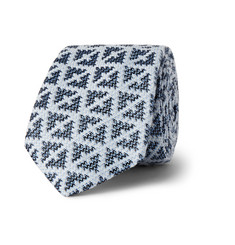 Marwood Diamond-Patterned Silk and Cotton-Blend Tie