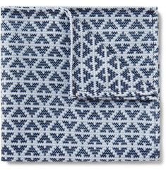 Marwood Diamond-Patterned Silk and Cotton-Blend Pocket Square