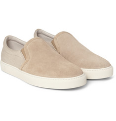 Brunello Cucinelli Perforated Suede and Twill Slip-On Sneakers