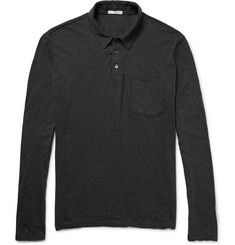 James Perse Mélange Cotton-Jersey Polo Shirt