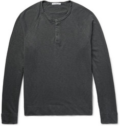 James Perse Loopback Cotton-Jersey Henley Sweatshirt