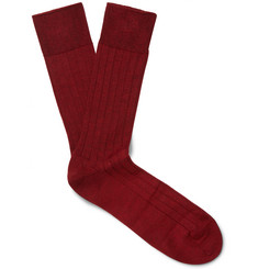John Smedley - Delta Ribbed Sea Island Cotton-Blend Socks