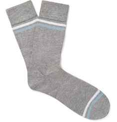 John Smedley Kai Striped Sea Island Cotton-Blend Socks