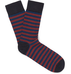 John Smedley Ethan Striped Sea Island Cotton-Blend Socks