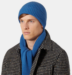 William Lockie Ribbed Cashmere Hat and Scarf Set