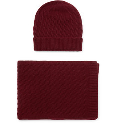 William Lockie Cable-Knit Cashmere Hat and Scarf Set