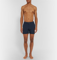 Officine Generale - Roman Mid-Length Checked Seersucker Swim Shorts