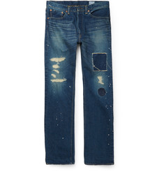 OrSlow + Beams Standard 105 Straight-Leg Distressed Denim Jeans