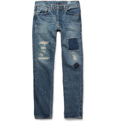 OrSlow + Beams Ivy 107 Straight-Leg Distressed Denim Jeans