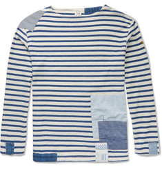 OrSlow - + Beams Patchwork Striped Cotton T-Shirt