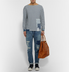 OrSlow + Beams Patchwork Striped Cotton T-Shirt