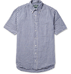 Gitman Vintage Button-Down Collar Gingham Linen and Cotton-Blend Shirt