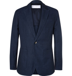 Private White V.C. Blue ECOSEAM® Linen and Wool-Blend Hopsack Blazer