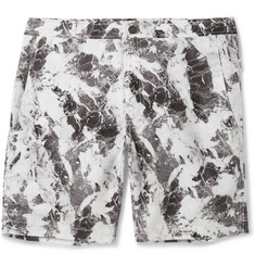 Onia Calder Long-Length Marble-Print Swim Shorts