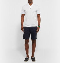 Everest Isles Shawl-Collar Mercerised Cotton-Piqué Polo Shirt