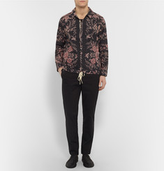By Walid Joel Drawstring-Hem Printed Cotton Shirt