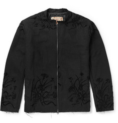By Walid - Silk-Embroidered Cotton Bomber Jacket