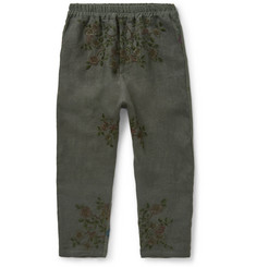 By Walid - Morton Embroidered Linen Trousers
