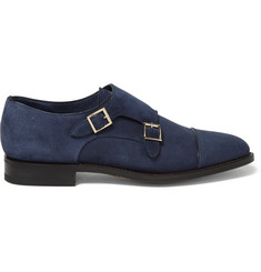 Santoni Suede Monk-Strap Shoes