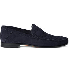 Santoni Woven Suede Penny Loafers