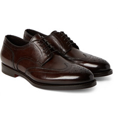 Santoni - Burnished-Leather Wingtip Brogues