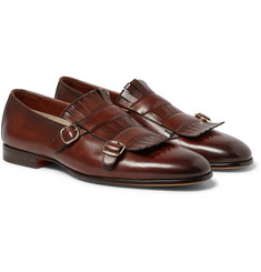 Santoni - Fringed Leather Monk-Strap Shoes