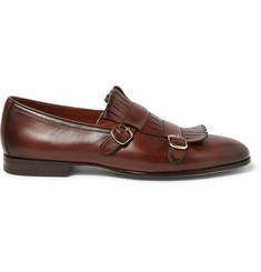 Santoni Fringed Leather Monk-Strap Shoes