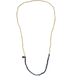 Mikia - Woven Bandana and Gold-Tone Bead Necklace