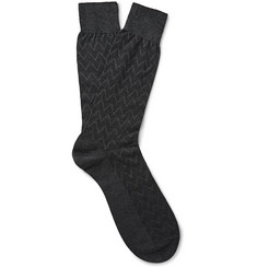 Pantherella Chalcot Chevron Egyptian Cotton-Blend Socks