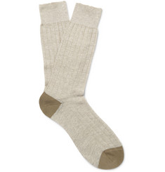 Pantherella Hamada Two-Tone Ribbed-Knit Socks