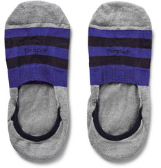 Pantherella Striped Egyptian Cotton-Blend No-Show Socks