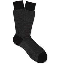 Pantherella Beaumont Birdseye-Knit Merino Wool-Blend Socks