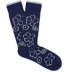 Marcoliani Floral Pima Cotton-Blend Socks