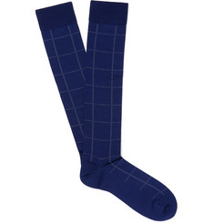 Marcoliani - Windowpane Pima Cotton-Blend Calf-Length Socks