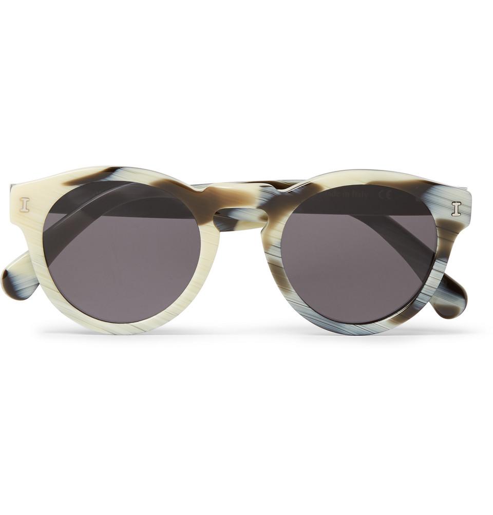 Leonard Round Frame Tortoiseshell Acetate Sunglasses White