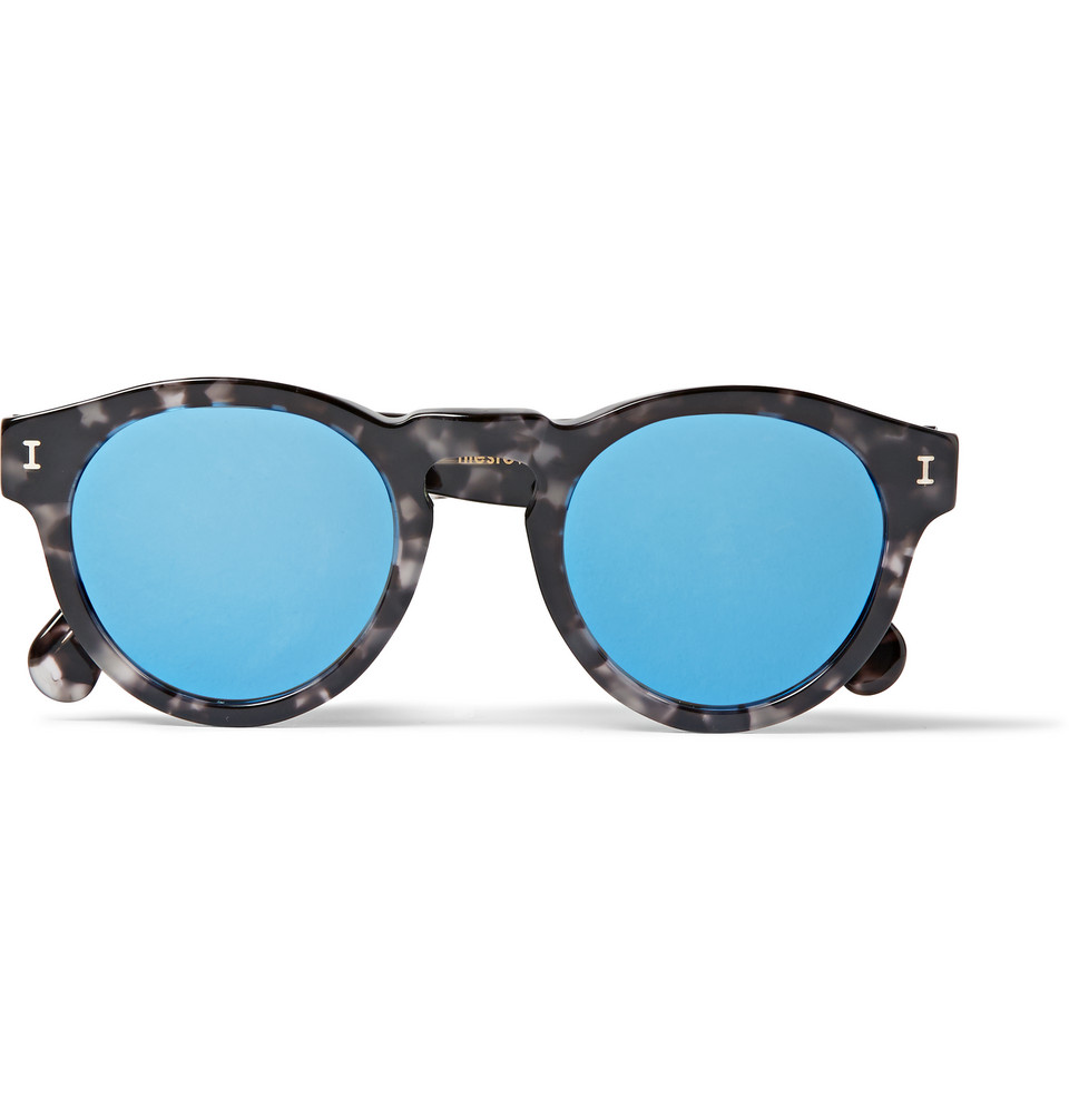 Leonard Round Frame Tortoiseshell Acetate Sunglasses Black