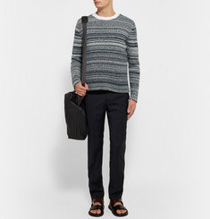 The Elder Statesman Striped Marled Cashmere Sweater