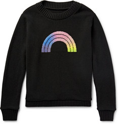 The Elder Statesman Rainbow Intarsia Cashmere Sweater