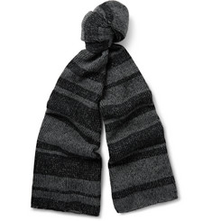 The Elder Statesman Striped Plaited Cashmere Scarf