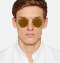 Maison Margiela - + Mykita Round-Frame Metal Mirrored Sunglasses