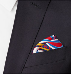 Turnbull & Asser Peacock-Print Silk-Twill Pocket Square
