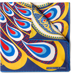 Turnbull & Asser - Peacock-Print Silk-Twill Pocket Square