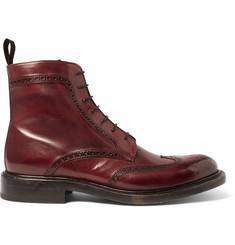 O'Keeffe Felix Polished-Leather Wingtip Brogue Boots
