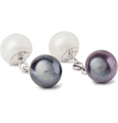 Trianon 18-Karat White Gold and Pearl Cufflinks