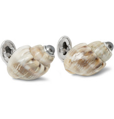 Trianon 18-Karat White Gold, Pearl and Shell Cufflinks
