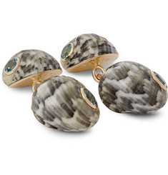Trianon 18-Karat Gold, Shell and Topaz Cufflinks