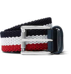 Anderson's 3.5cm Leather-Trimmed Woven Elasticated Belt