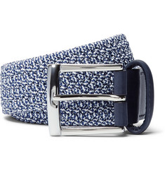 Anderson's - 3.5cm Blue Leather-Trimmed Elasticated Woven Belt