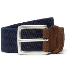 Anderson's - 3.5cm Navy Suede-Trimmed Elasticated Woven Belt